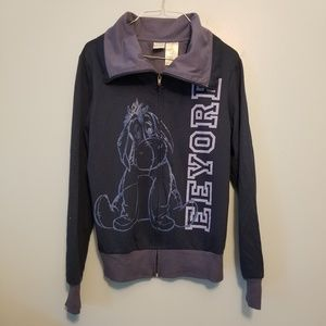 Disney Eeyore Blue Full Zip Hoodie Junior Large
